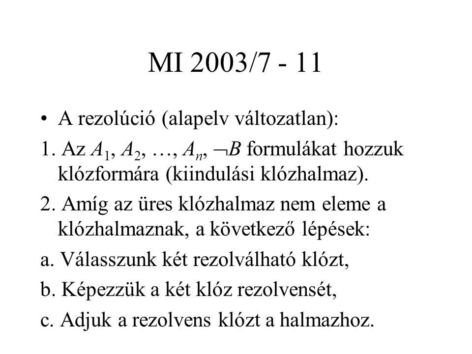 MI 2003/7 - 11 A rezolúció (alapelv változatlan): 1. Az A 1, A 2, …, A n,  B formulákat hozzuk klózformára (kiindulási klózhalmaz). 2. Amíg az üres k