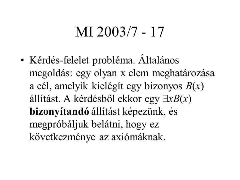 MI 2003/7 - 17 Kérdés-felelet probléma. Általános megoldás: egy olyan x elem meghatározása a cél, amelyik kielégít egy bizonyos B(x) állítást. A kérdé