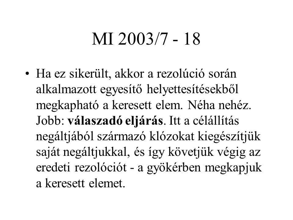 MI 2003/7 - 18 Ha ez sikerült, akkor a rezolúció során alkalmazott egyesítő helyettesítésekből megkapható a keresett elem. Néha nehéz. Jobb: válaszadó