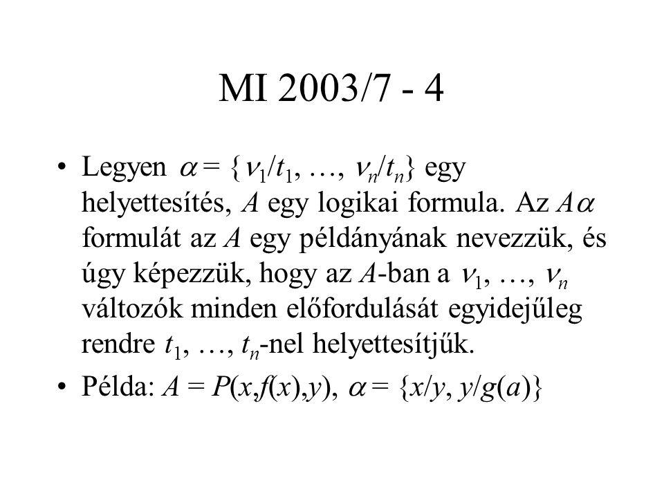 MI 2003/7 - 4 Legyen  = { 1 /t 1, …, n /t n } egy helyettesítés, A egy logikai formula. Az A  formulát az A egy példányának nevezzük, és úgy képezzü