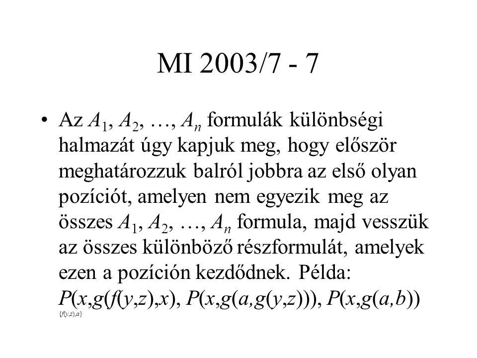 MI 2003/7 - 7 Az A 1, A 2, …, A n formulák különbségi halmazát úgy kapjuk meg, hogy először meghatározzuk balról jobbra az első olyan pozíciót, amelye