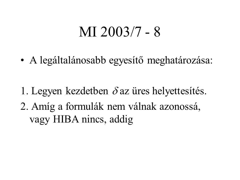 MI 2003/7 - 8 A legáltalánosabb egyesítő meghatározása: 1. Legyen kezdetben  az üres helyettesítés. 2. Amíg a formulák nem válnak azonossá, vagy HIBA