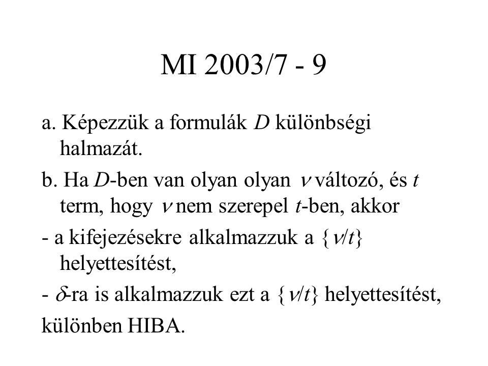 MI 2003/7 - 9 a. Képezzük a formulák D különbségi halmazát. b. Ha D-ben van olyan olyan változó, és t term, hogy nem szerepel t-ben, akkor - a kifejez