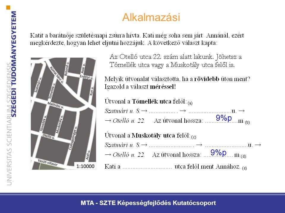 MTA - SZTE Képességfejlődés Kutatócsoport Alkalmazási 9%p