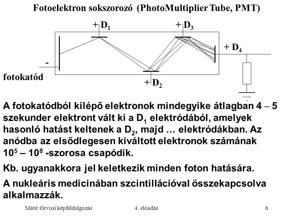 Máté: Orvosi képfeldolgozás4. előadás6 A fotokatódból kilépő elektronok mindegyike átlagban 4 – 5 szekunder elektront vált ki a D 1 elektródából, amel
