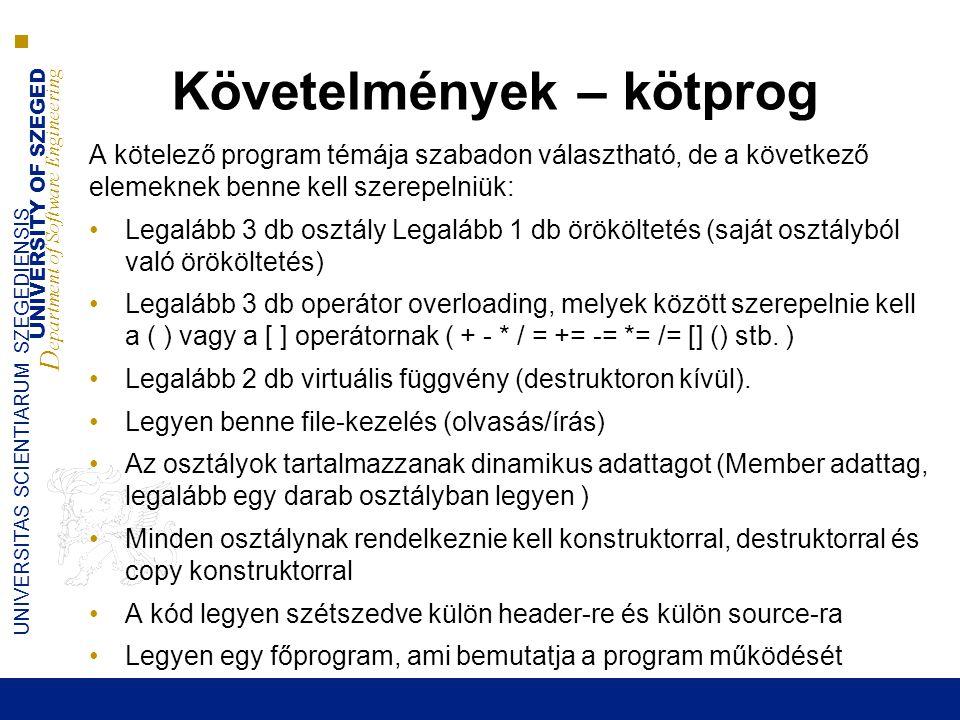 UNIVERSITY OF SZEGED D epartment of Software Engineering UNIVERSITAS SCIENTIARUM SZEGEDIENSIS Követelmények – kötprog A kötelező program témája szabad