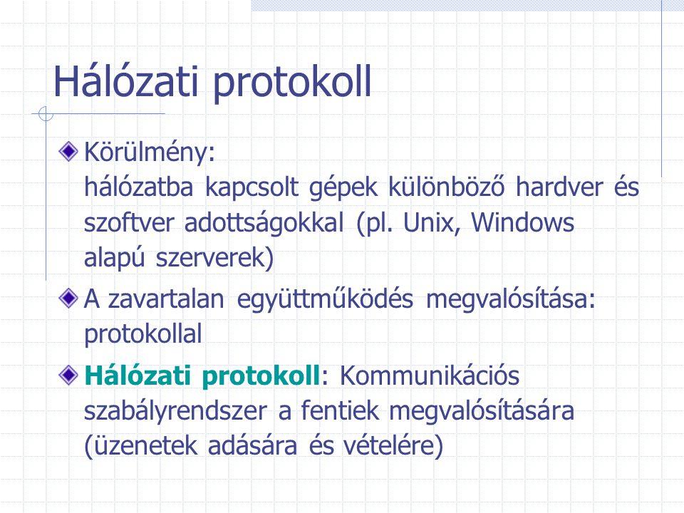 Hálózati protokoll Körülmény: hálózatba kapcsolt gépek különböző hardver és szoftver adottságokkal (pl. Unix, Windows alapú szerverek) A zavartalan eg