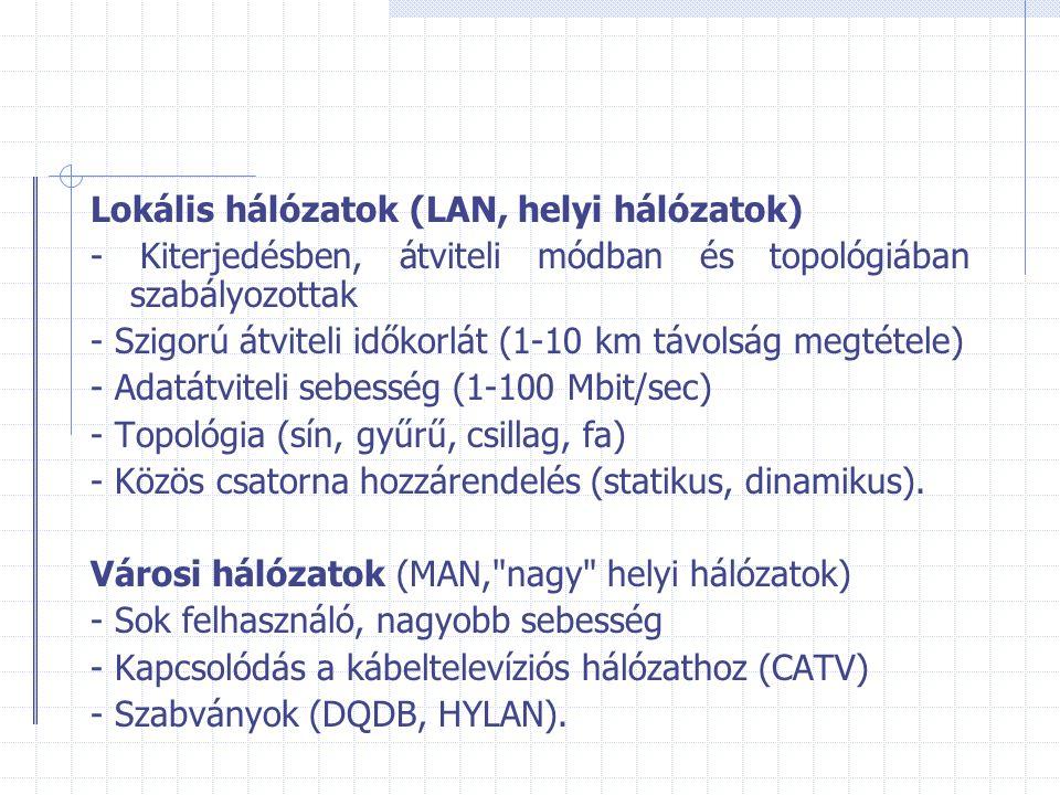 Lokális hálózatok (LAN, helyi hálózatok) - Kiterjedésben, átviteli módban és topológiában szabályozottak - Szigorú átviteli időkorlát (1-10 km távolsá