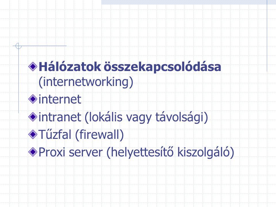 Hálózatok összekapcsolódása (internetworking) internet intranet (lokális vagy távolsági) Tűzfal (firewall) Proxi server (helyettesítő kiszolgáló)