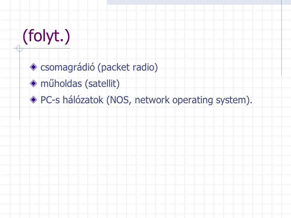 (folyt.) csomagrádió (packet radio) műholdas (satellit) PC-s hálózatok (NOS, network operating system).