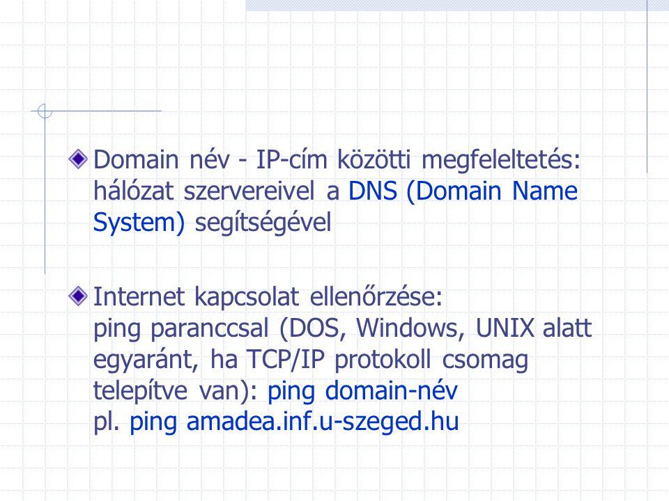 Domain név - IP-cím közötti megfeleltetés: hálózat szervereivel a DNS (Domain Name System) segítségével Internet kapcsolat ellenőrzése: ping paranccsa