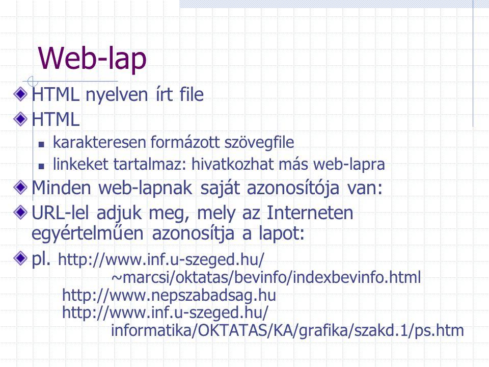 Web-lap HTML nyelven írt file HTML karakteresen formázott szövegfile linkeket tartalmaz: hivatkozhat más web-lapra Minden web-lapnak saját azonosítója