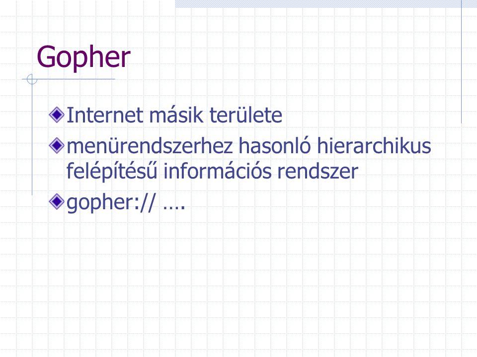 Gopher Internet másik területe menürendszerhez hasonló hierarchikus felépítésű információs rendszer gopher:// ….