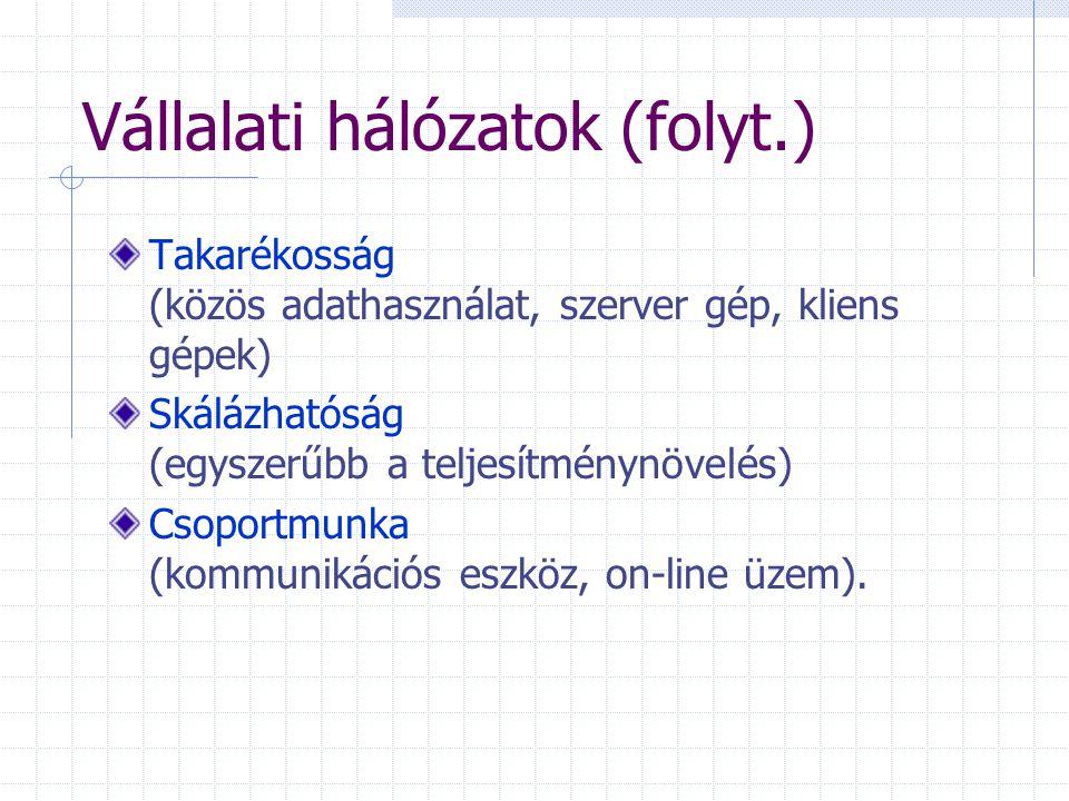 Vállalati hálózatok (folyt.) Takarékosság (közös adathasználat, szerver gép, kliens gépek) Skálázhatóság (egyszerűbb a teljesítménynövelés) Csoportmunka (kommunikációs eszköz, on-line üzem).