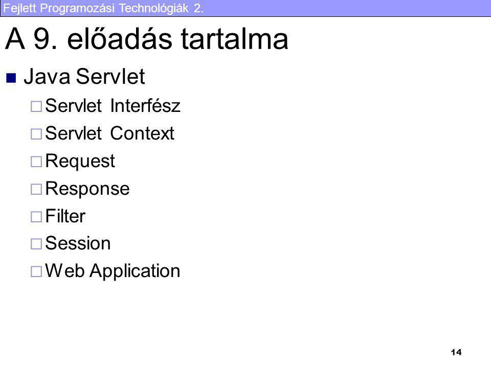 Fejlett Programozási Technológiák 2. 14 A 9. előadás tartalma Java Servlet  Servlet Interfész  Servlet Context  Request  Response  Filter  Sessi