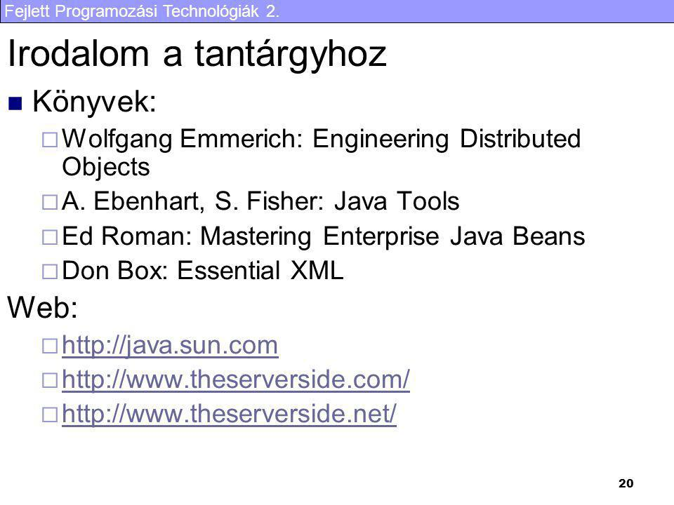 Fejlett Programozási Technológiák 2. 20 Irodalom a tantárgyhoz Könyvek:  Wolfgang Emmerich: Engineering Distributed Objects  A. Ebenhart, S. Fisher: