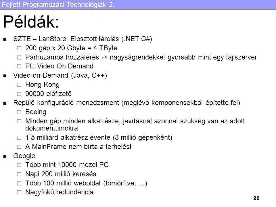 Fejlett Programozási Technológiák 2. 26 Példák: SZTE – LanStore: Elosztott tárolás (.NET C#)  200 gép x 20 Gbyte = 4 TByte  Párhuzamos hozzáférés ->