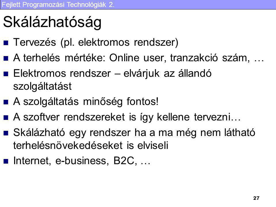 Fejlett Programozási Technológiák 2. 27 Skálázhatóság Tervezés (pl. elektromos rendszer) A terhelés mértéke: Online user, tranzakció szám, … Elektromo