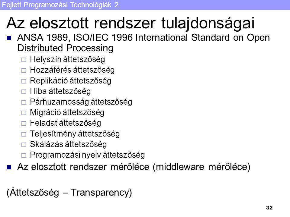 Fejlett Programozási Technológiák 2. 32 Az elosztott rendszer tulajdonságai ANSA 1989, ISO/IEC 1996 International Standard on Open Distributed Process
