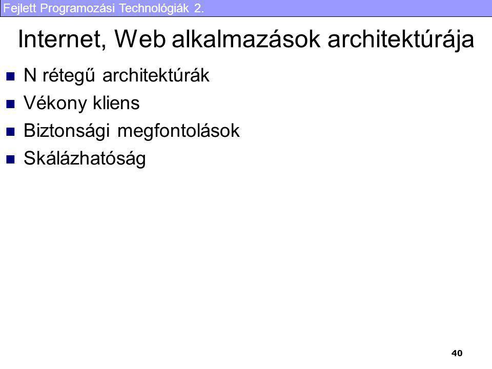 Fejlett Programozási Technológiák 2. 40 Internet, Web alkalmazások architektúrája N rétegű architektúrák Vékony kliens Biztonsági megfontolások Skáláz