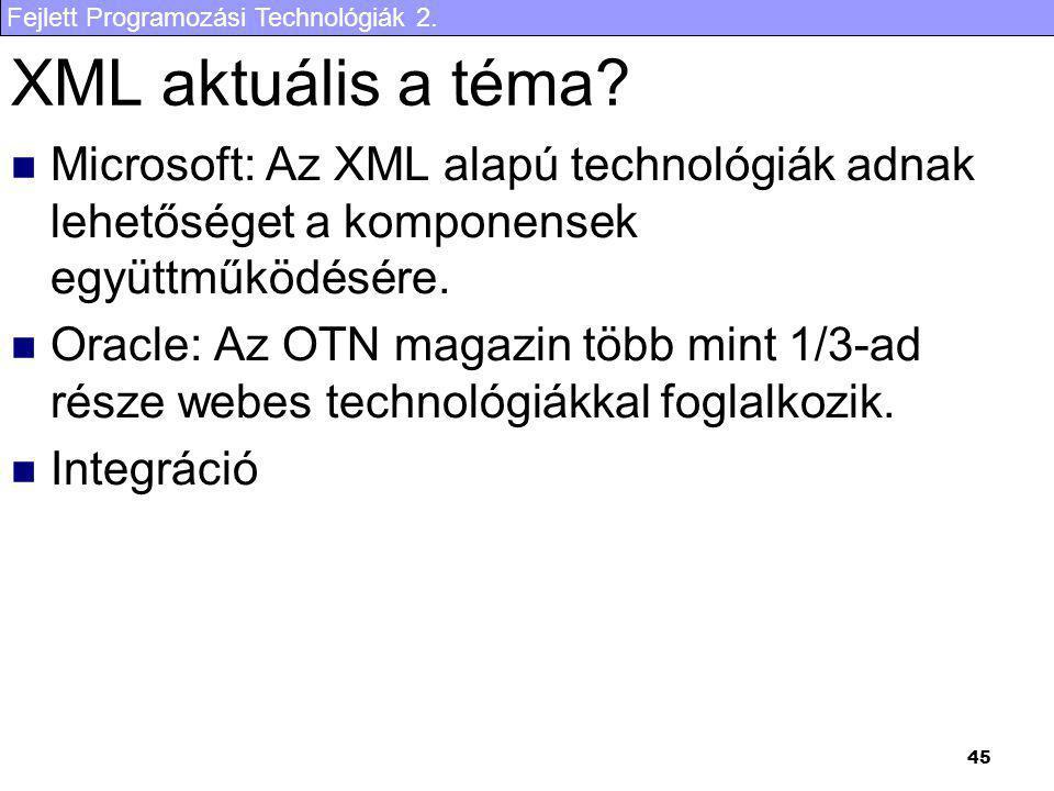 Fejlett Programozási Technológiák 2. 45 XML aktuális a téma? Microsoft: Az XML alapú technológiák adnak lehetőséget a komponensek együttműködésére. Or