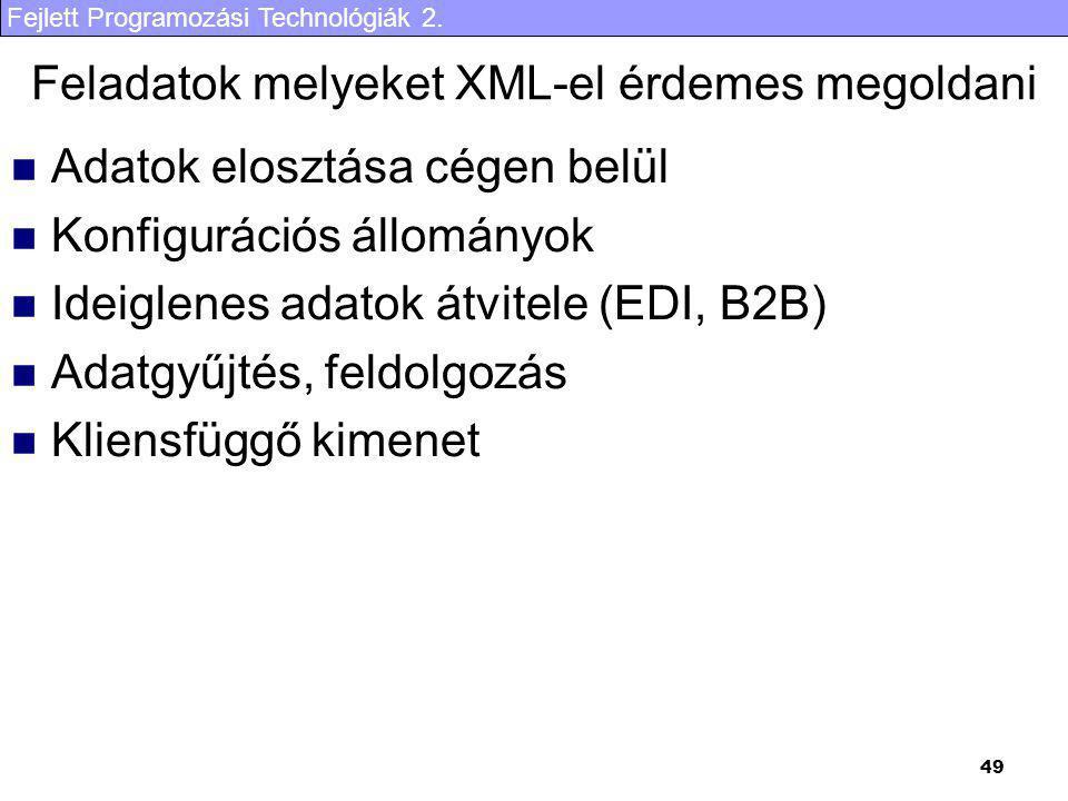 Fejlett Programozási Technológiák 2. 49 Feladatok melyeket XML-el érdemes megoldani Adatok elosztása cégen belül Konfigurációs állományok Ideiglenes a