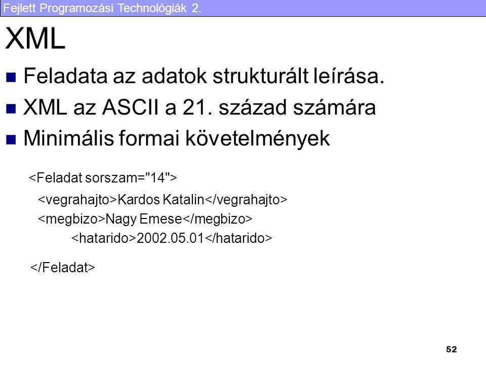Fejlett Programozási Technológiák 2. 52 XML Feladata az adatok strukturált leírása. XML az ASCII a 21. század számára Minimális formai követelmények K