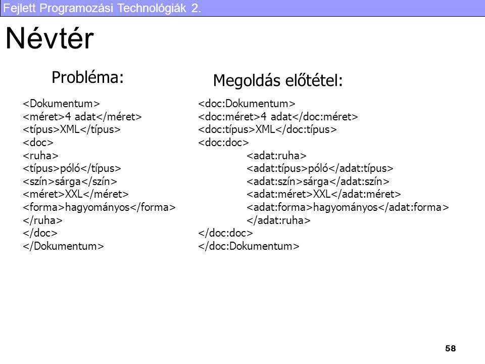 Fejlett Programozási Technológiák 2. 58 Névtér 4 adat XML póló sárga XXL hagyományos 4 adat XML póló sárga XXL hagyományos Probléma: Megoldás előtétel