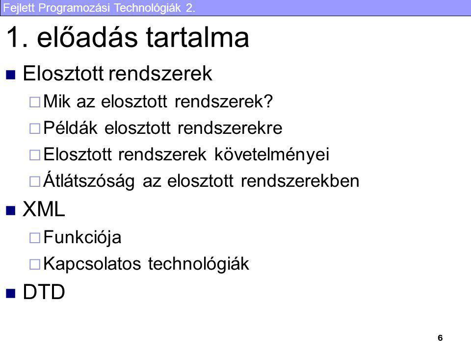 Fejlett Programozási Technológiák 2. 6 1. előadás tartalma Elosztott rendszerek  Mik az elosztott rendszerek?  Példák elosztott rendszerekre  Elosz