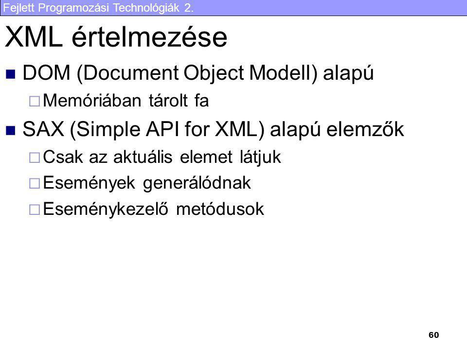 Fejlett Programozási Technológiák 2. 60 XML értelmezése DOM (Document Object Modell) alapú  Memóriában tárolt fa SAX (Simple API for XML) alapú elemz