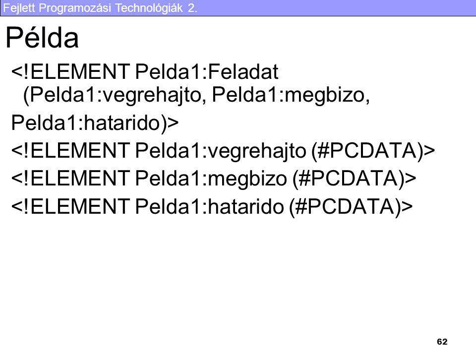Fejlett Programozási Technológiák 2. 62 Példa <!ELEMENT Pelda1:Feladat (Pelda1:vegrehajto, Pelda1:megbizo, Pelda1:hatarido)>