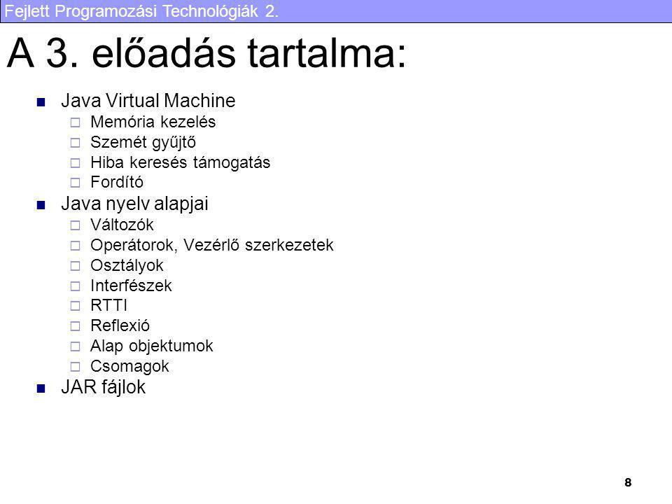 Fejlett Programozási Technológiák 2. 8 A 3. előadás tartalma: Java Virtual Machine  Memória kezelés  Szemét gyűjtő  Hiba keresés támogatás  Fordít