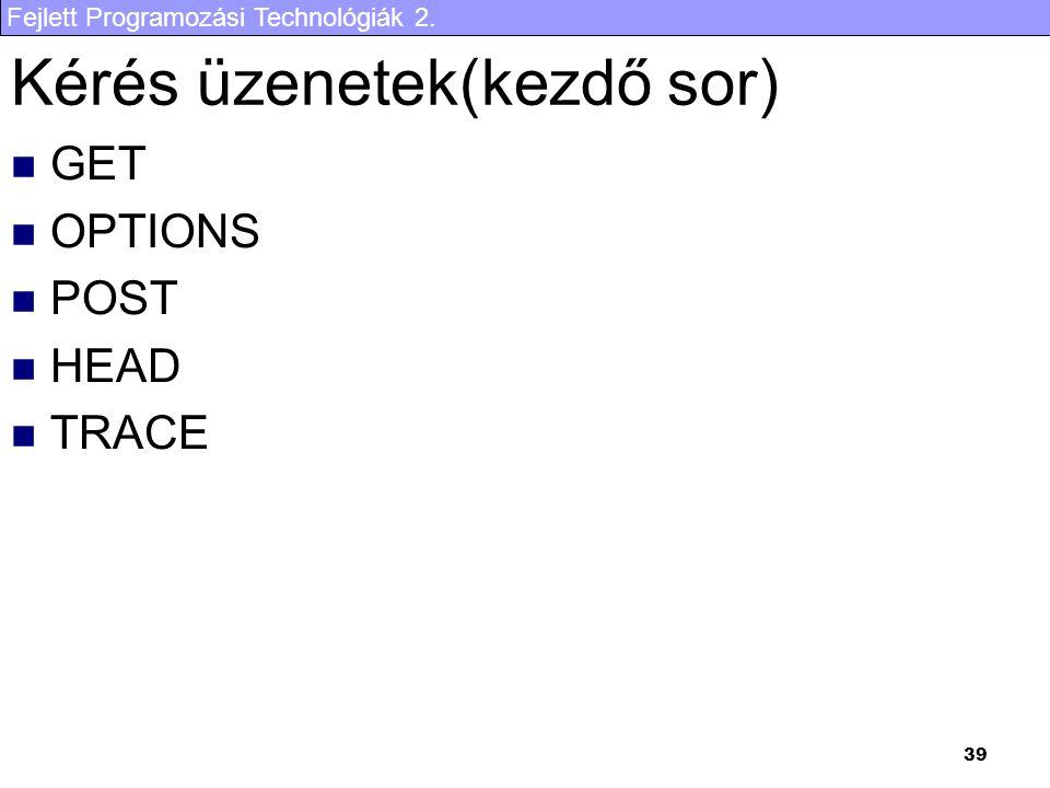 Fejlett Programozási Technológiák 2. 39 Kérés üzenetek(kezdő sor) GET OPTIONS POST HEAD TRACE