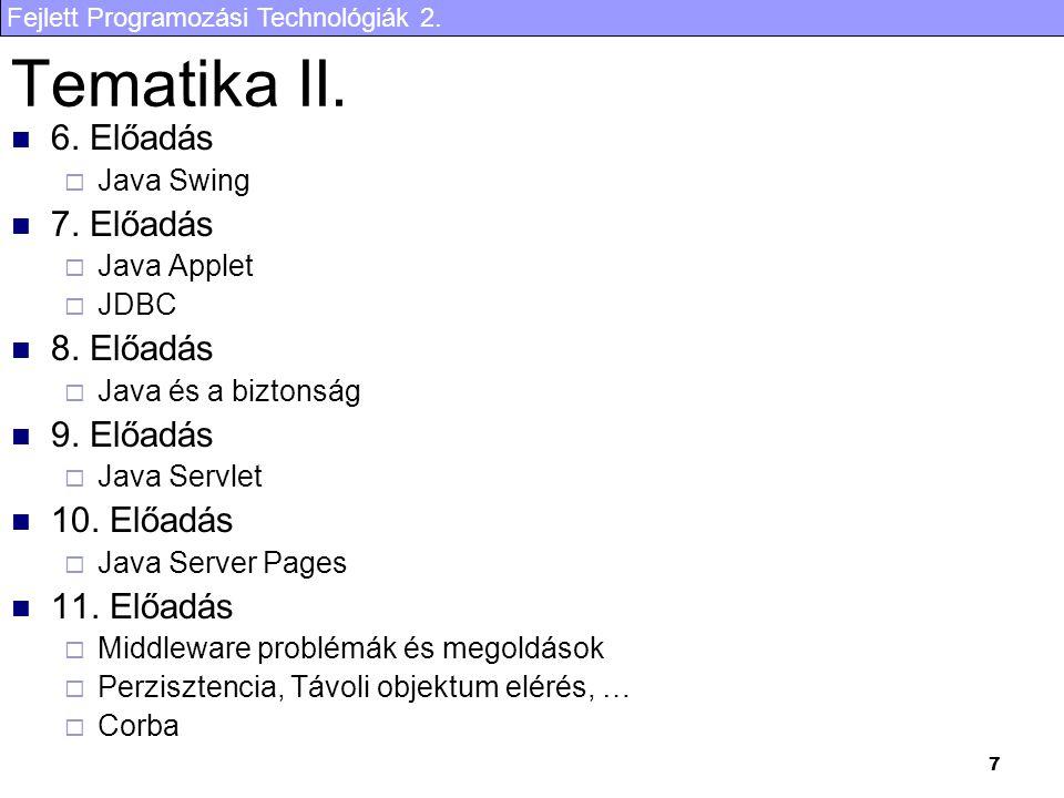 Fejlett Programozási Technológiák 2.7 Tematika II.