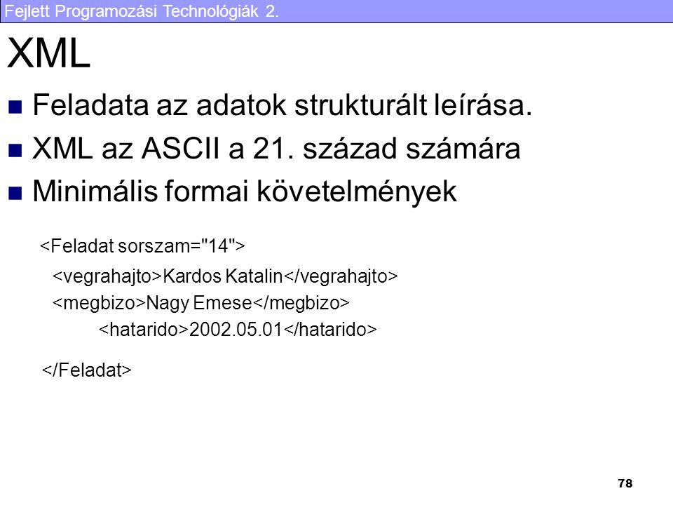 Fejlett Programozási Technológiák 2.78 XML Feladata az adatok strukturált leírása.