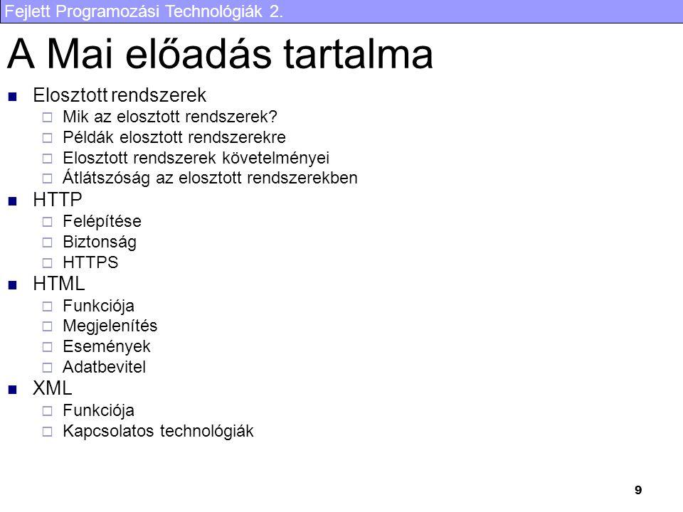 Fejlett Programozási Technológiák 2. 70 Példa I. rész … … Keresztnév: Nem: