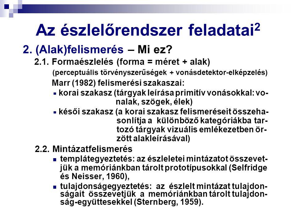 Az észlelőrendszer feladatai 2 2. (Alak)felismerés – Mi ez? 2.1. Formaészlelés (forma = méret + alak) (perceptuális törvényszerűségek + vonásdetektor-