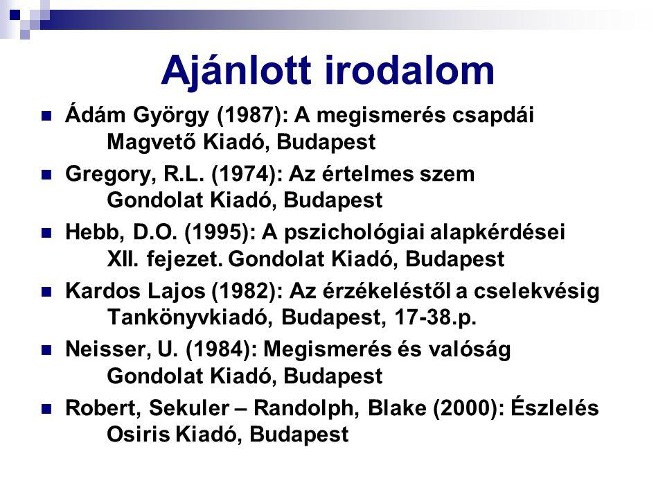 Ajánlott irodalom Ádám György (1987): A megismerés csapdái Magvető Kiadó, Budapest Gregory, R.L. (1974): Az értelmes szem Gondolat Kiadó, Budapest Heb