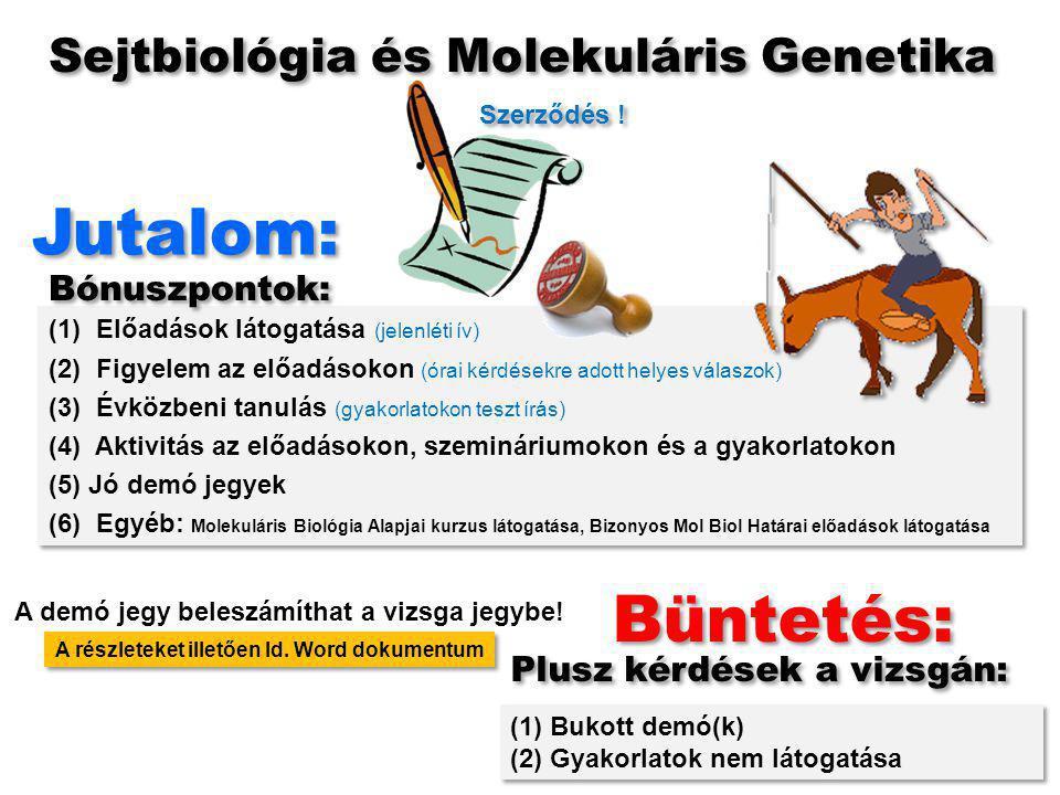 (1) Előadások látogatása (jelenléti ív) (2) Figyelem az előadásokon (órai kérdésekre adott helyes válaszok) (3) Évközbeni tanulás (gyakorlatokon teszt írás) (4) Aktivitás az előadásokon, szemináriumokon és a gyakorlatokon (5) Jó demó jegyek (6) Egyéb: Molekuláris Biológia Alapjai kurzus látogatása, Bizonyos Mol Biol Határai előadások látogatása (1) Előadások látogatása (jelenléti ív) (2) Figyelem az előadásokon (órai kérdésekre adott helyes válaszok) (3) Évközbeni tanulás (gyakorlatokon teszt írás) (4) Aktivitás az előadásokon, szemináriumokon és a gyakorlatokon (5) Jó demó jegyek (6) Egyéb: Molekuláris Biológia Alapjai kurzus látogatása, Bizonyos Mol Biol Határai előadások látogatása Büntetés: Jutalom: Bónuszpontok: Plusz kérdések a vizsgán: (1) Bukott demó(k) (2) Gyakorlatok nem látogatása (1) Bukott demó(k) (2) Gyakorlatok nem látogatása Sejtbiológia és Molekuláris Genetika A részleteket illetően ld.