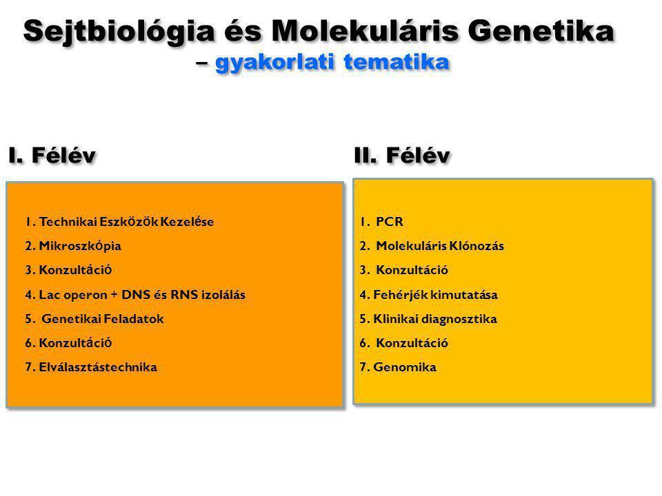 Sejtbiológia és Molekuláris Genetika – gyakorlati tematika Sejtbiológia és Molekuláris Genetika – gyakorlati tematika 1.