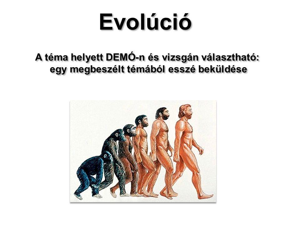 Evolúció A téma helyett DEMÓ-n és vizsgán választható: egy megbeszélt témából esszé beküldése Evolúció A téma helyett DEMÓ-n és vizsgán választható: egy megbeszélt témából esszé beküldése