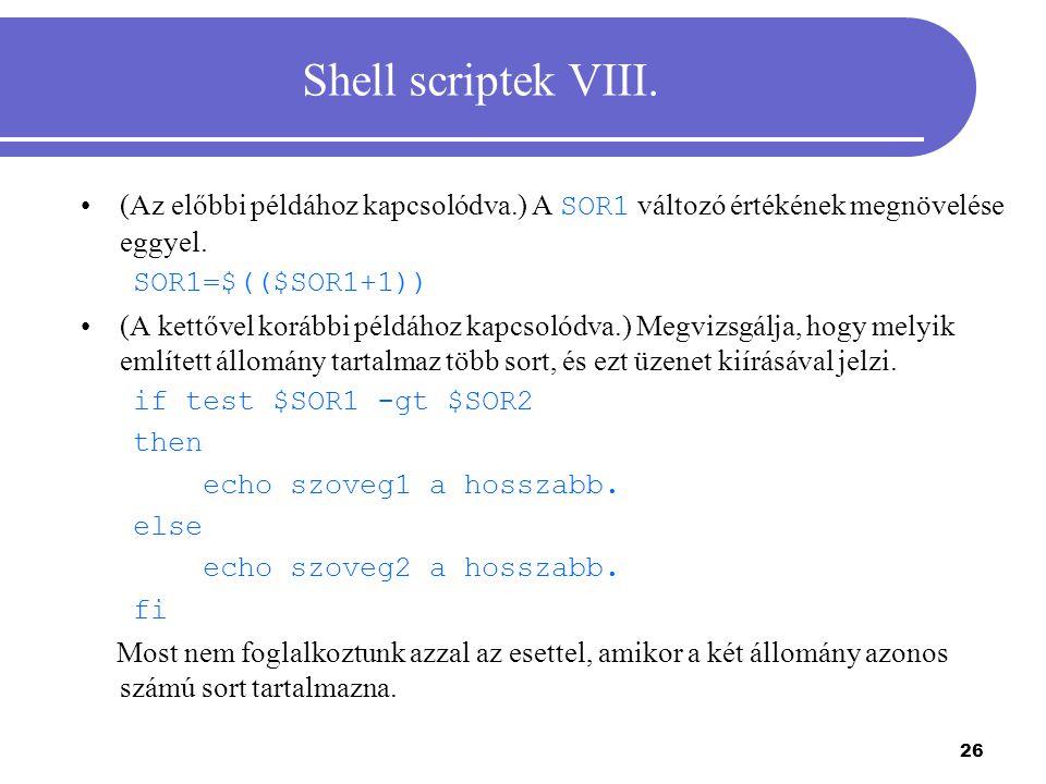 27 Shell scriptek IX.