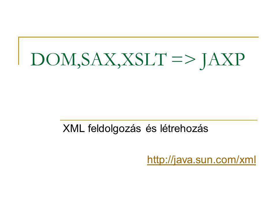 SAX és DOM SAX = Simple API for XML (folyam kiértékelés) DOM = Document Object Model (fa építés) JAXP: Java API for XML Processing javax.xml.parsers csomag SAXParserFactory DocumentBuilderFactory  Document