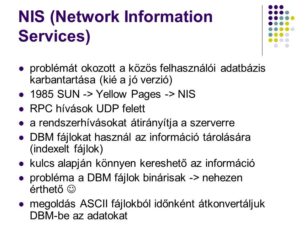 NIS (Network Information Services) problémát okozott a közös felhasználói adatbázis karbantartása (kié a jó verzió) 1985 SUN -> Yellow Pages -> NIS RP