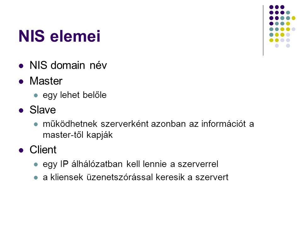 NIS elemei NIS domain név Master egy lehet belőle Slave működhetnek szerverként azonban az információt a master-től kapják Client egy IP álhálózatban