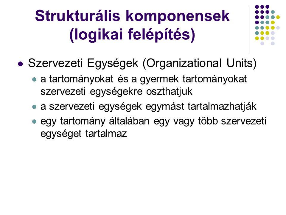 Strukturális komponensek (logikai felépítés) Szervezeti Egységek (Organizational Units) a tartományokat és a gyermek tartományokat szervezeti egységek