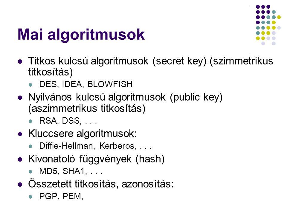 Mai algoritmusok Titkos kulcsú algoritmusok (secret key) (szimmetrikus titkosítás) DES, IDEA, BLOWFISH Nyilvános kulcsú algoritmusok (public key) (asz