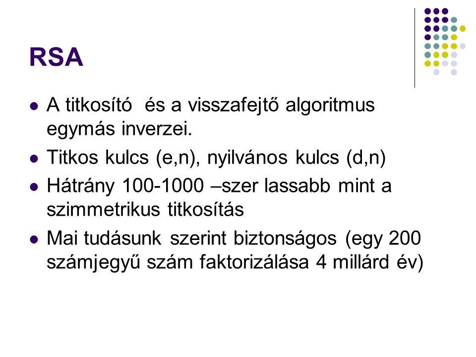 RSA A titkosító és a visszafejtő algoritmus egymás inverzei. Titkos kulcs (e,n), nyilvános kulcs (d,n) Hátrány 100-1000 –szer lassabb mint a szimmetri