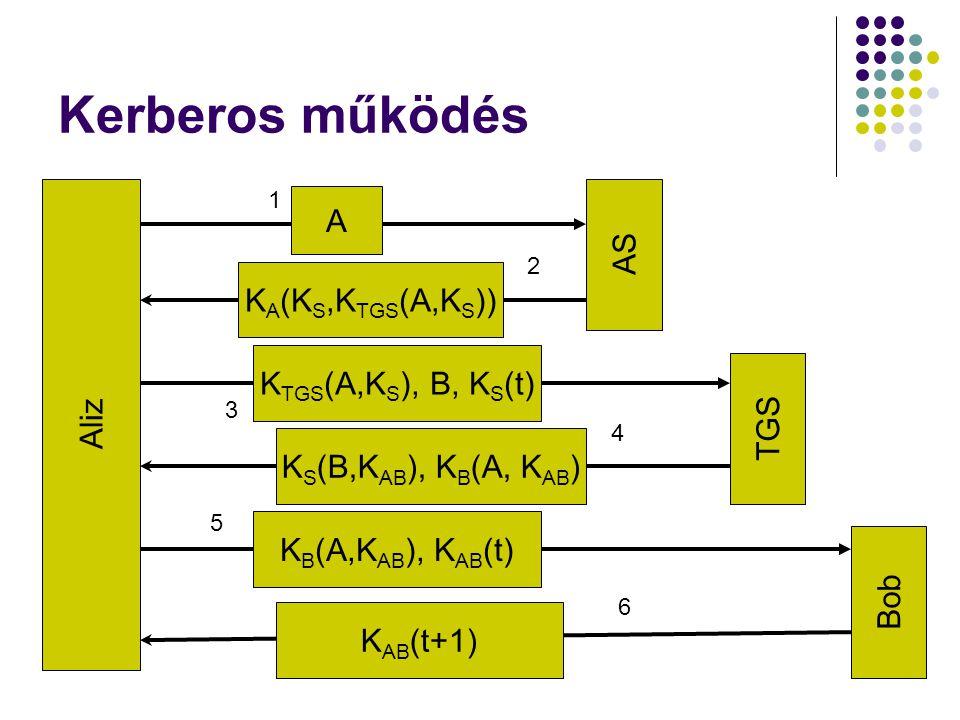 K TGS (A,K S ), B, K S (t) Kerberos működés Aliz AS TGS Bob A 1 K A (K S,K TGS (A,K S )) 2 3 K S (B,K AB ), K B (A, K AB ) 4 K B (A,K AB ), K AB (t) 5