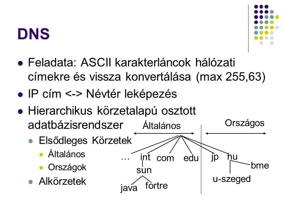 Feladata: ASCII karakterláncok hálózati címekre és vissza konvertálása (max 255,63) IP cím Névtér leképezés Hierarchikus körzetalapú osztott adatbázis